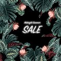 Sale banner, poster with dark tropical palm leaves, jungle forest and blooming flowers ,Beautiful vector midnight summer