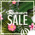 Sale summer banner, poster with palm leaves, jungle leaf and tropical flowers. Vector illustration EPS10