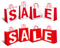 Sale banner shopping bags carrier bags icons symbols Royalty Free Stock Photography