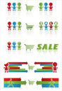Sale banner with shopping cart and funny peoples Royalty Free Stock Photo