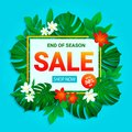 Sale banner. Summer sellout poster. Floral jungle background with exotic tropic flowers, leaves. End of the season discount vector Royalty Free Stock Photo