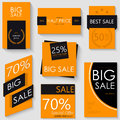 Sale Banner Template Design. Set of Seven Orange Posters
