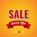 Sale banner template design. Up to 50% off. Vector illustration