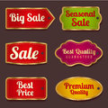 Sale banners labels coupon tag template vector set colorful layout with gold frame border bright design for sticker web page ad Stock Photo