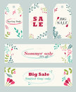 Sale banners and tags with hand drawn floral ornament Royalty Free Stock Photo