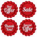 Sale best offer special offer thank you tag set colorful tags red label stars icons for Stock Image