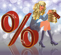 Sale blonde girl Royalty Free Stock Photography