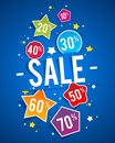 Sale on blue background illustration Stock Photo