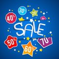 Sale on blue background illustration Royalty Free Stock Image