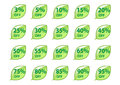 Sale buttons in form of green leaves Royalty Free Stock Photo