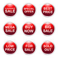 Sale buttons illustration of nine glossy Stock Images