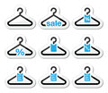 Sale buy get free hanger icons set shopping black and blue labels isolated on white in store price discount Royalty Free Stock Photo