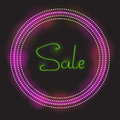 Sale calligraphy with glowing neon circle sign. Light vector background for your design.
