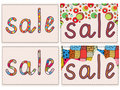 Sale card funny background set Stock Image