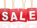 Sale cards hanging by rope Stock Photo