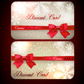 Sale cards with red gift bows set of and discount paper and ribbons Stock Image