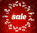 Sale on christmas background with discounts word red Stock Photo