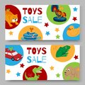 Sale of clockwork toys with key banners or voucher, vector illustration. Mechanic toyshop discount for baby toys with Royalty Free Stock Photo