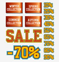 Sale collection season signs red Stock Images