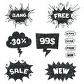 Sale comic bubbles Royalty Free Stock Photos