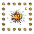 SALE comic text speech bubble with huge discount set. Vector isolated sound effect puff cloud icon.