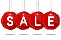 Sale concept formed of red round tags great for shopping sales advertising discounts and promotion Stock Photos