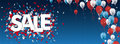 Sale Confetti Balloons Stars Blue Vintage Header Royalty Free Stock Photo