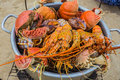 Sale of cooked seafood on the beach in nha trang vietnam Royalty Free Stock Photo