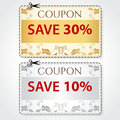 Sale coupon tag cut off template gold pattern labels banner silver vector design layout with floral frame dotted line dash line Stock Image