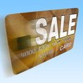 Sale on credit debit card flying shows offer bargain promotion showing Royalty Free Stock Photo