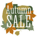 Sale and discount card, banner, flier. Autumn sale title. Maple leaves of different colors: green, orange, yellow Royalty Free Stock Photo