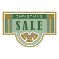 Sale and discount card, banner, flier. Christmas sale title. Bells, hand drawn letters composition isolated on background. Vector Royalty Free Stock Photo