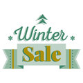 Sale and discount card, banner, flier. Winter sale title. Green pine tree icon, snowflakes, ribbon. Vector illustration template Royalty Free Stock Photo