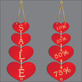 Sale discount in hearts set of stickers counters banners for and a a Royalty Free Stock Photography