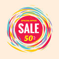 Sale discount 50% off creative vector banner. Special offer abstract circle layout and red, yellow and blue colors. Brush hand. Royalty Free Stock Photo