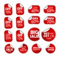 Sale discount specials banner price tag, sticker half off, save percent coupon icon