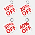 Sale discount stickers icons. Special offer price signs. 10, 20, 30 and 40 percent off reduction symbols Royalty Free Stock Photo
