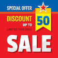 Sale discount up to 50% - concept banner vector illustration. Special offer abstract advertising promotion creative layout.