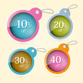 Sale discount vector circle labels with strings set Royalty Free Stock Images