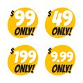 stock image of  Sale 49 99 199 and 9.99 Dollars Only Offer Badge Sticker Design in Flat Style.