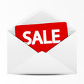 Sale envelope paper with message Stock Image