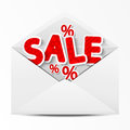 Sale envelope paper with message Stock Photo