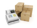 Sale goods storage, warehouse. Cash register an Royalty Free Stock Photo