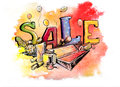 Sale hand drawn color illustration Royalty Free Stock Photos