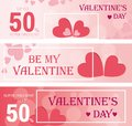 Sale header or banner set with discount offer for Happy Valentine`s Day celebration. Vector illustration.