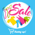 Sale, hurry up. Hangers and clothes. Shopping cart.