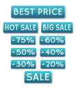 Sale icons in english vector decorative of and discounts Royalty Free Stock Photography