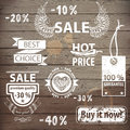 Sale icons great set with hand drawn design elements Royalty Free Stock Photography