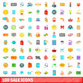 100 sale icons set, cartoon style