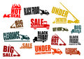 Sale icons set construction vehicles with business slogans easy to use in any project Royalty Free Stock Images
